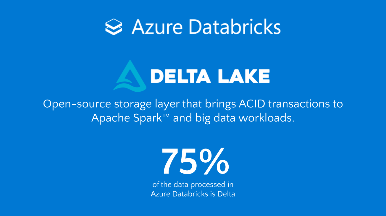 Delta Lake -- Open-source storage layer that brings ACID transactions to Apache SparkTM and big data workloads, including 75% of data processed in Azure Databricks.