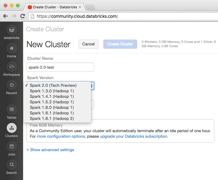 Screenshot of creating a new Apache Spark 2.0 Tech Preview Cluster workflow in Databricks