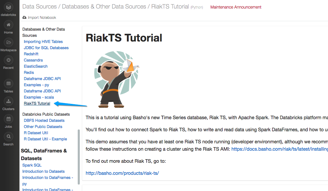 Screenshot of the RiakTS tutorial on Databricks