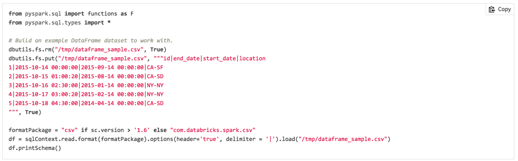Screenshot of a code sample in the Databricks documentation featuring a one-click copy to clipboard function.