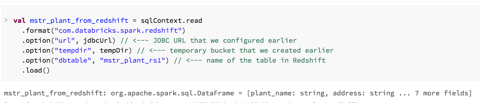 Screenshot from a Databricks notebook demonstrating how to create a Dataframe from an entire Redshift table.
