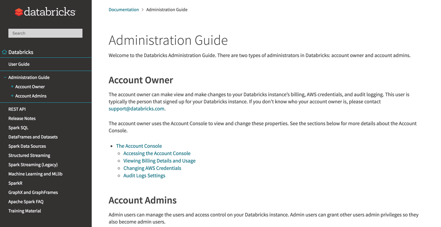 Screenshot of the Databricks Administration Guide homepage