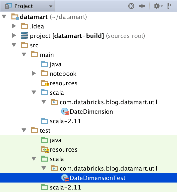 DateDimensionTest file location in the IntelliJ sidebar