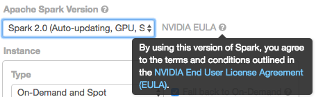 Screenshot showing that the user accepts the NVIDIA EULA when creating a GPU accelerated cluster