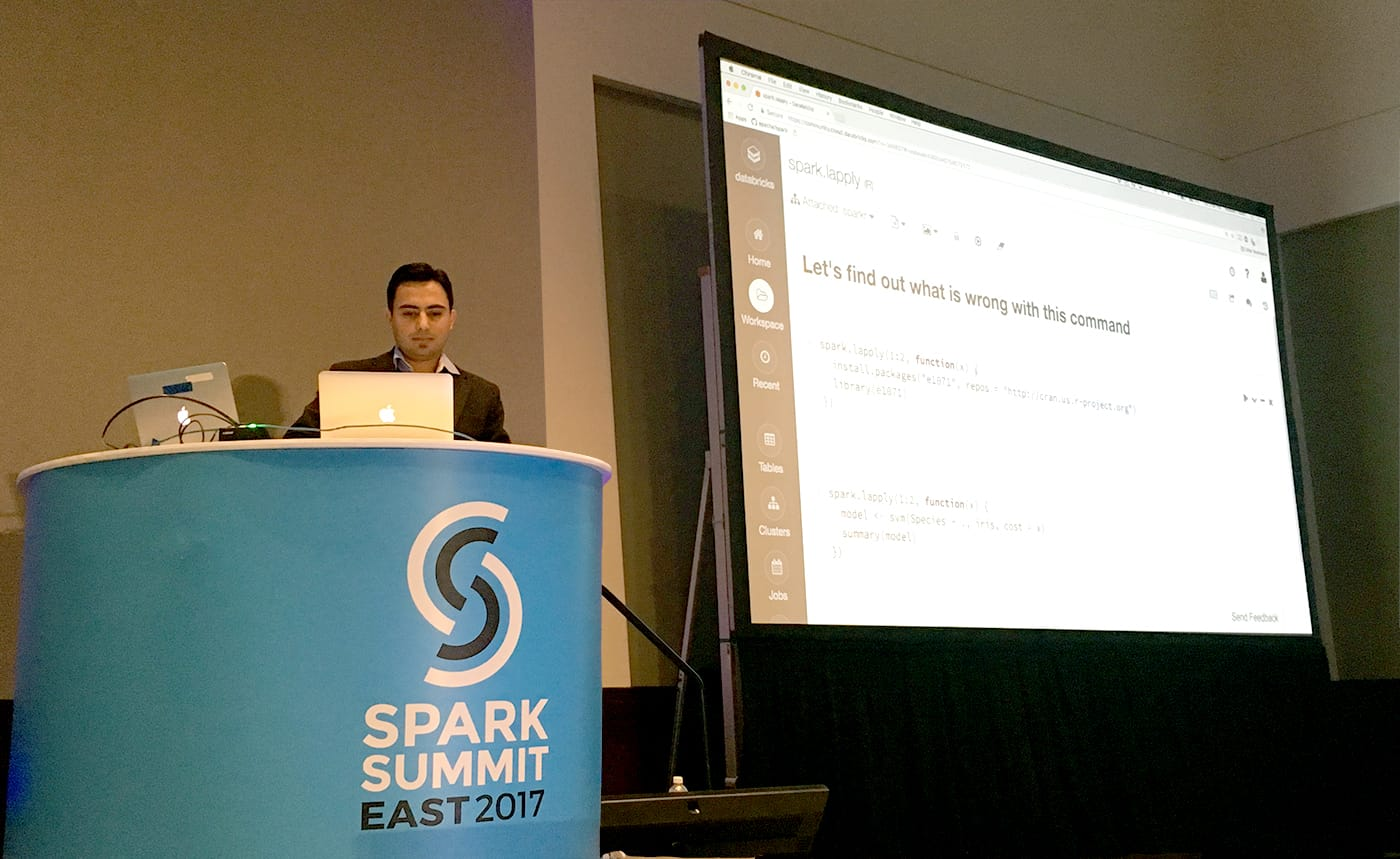 Hossein Falaki speaking at Spark Summit East 2017