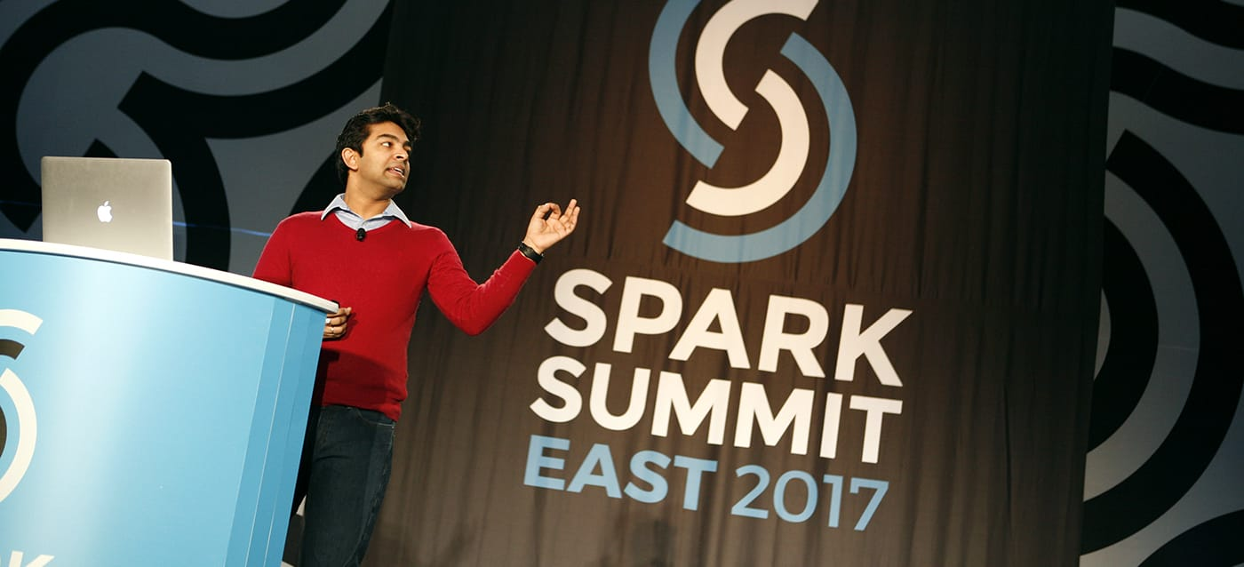 Sameer Agarwal speaking at Spark Summit East 2017.