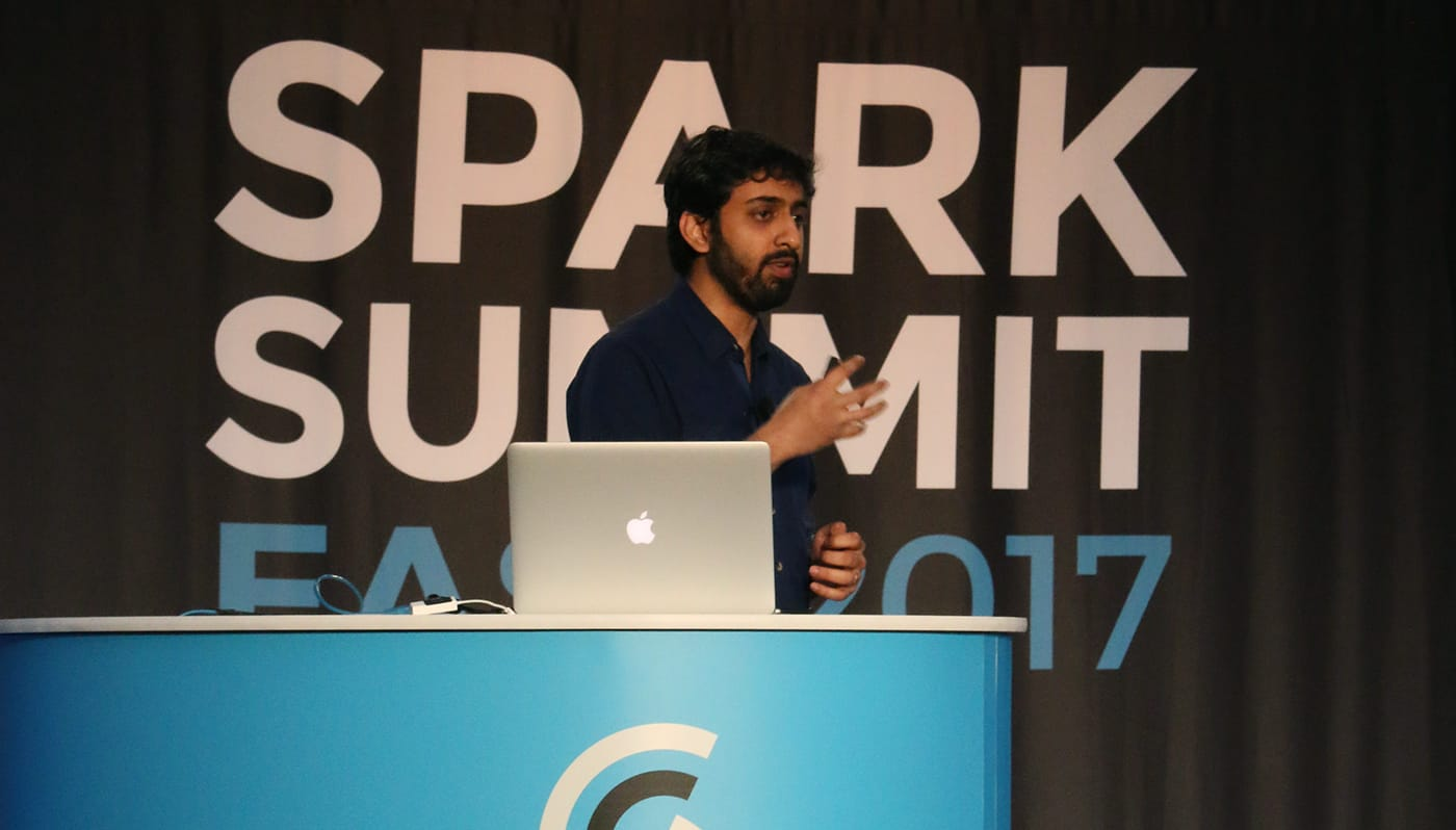 Tathagata Das speaking at Spark Summit East 2017.