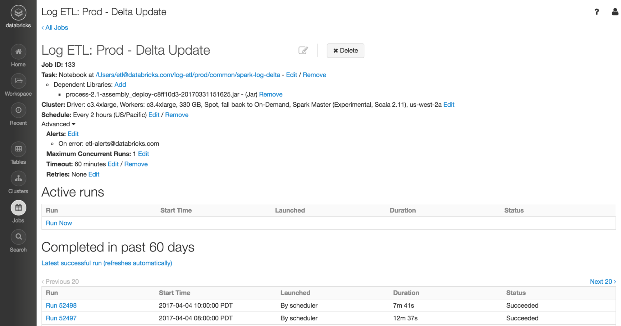 Screenshot of the Job Scheduler in Databricks