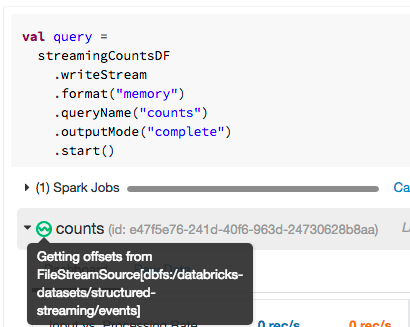 Screenshot of a user observing a stream's state in Databricks
