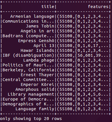 Console output showing the first 20 rows of the Wikipedia Extraction (WEX) dataset converted to binary sparse vectors