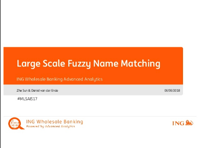 Large Scale Fuzzy Name Matching with a Custom ML Pipeline in