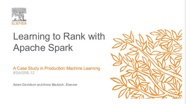 Learning to Rank with Apache Spark: A Case Study in Production