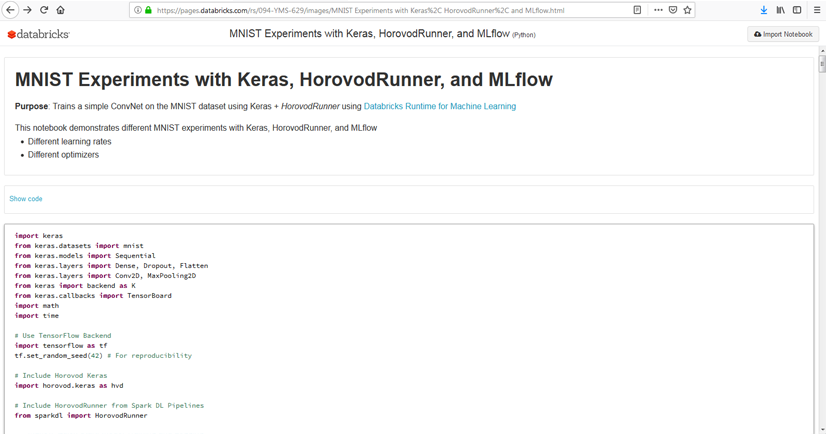 MNIST Experiments with Keras, HorovodRunner, and MLflow