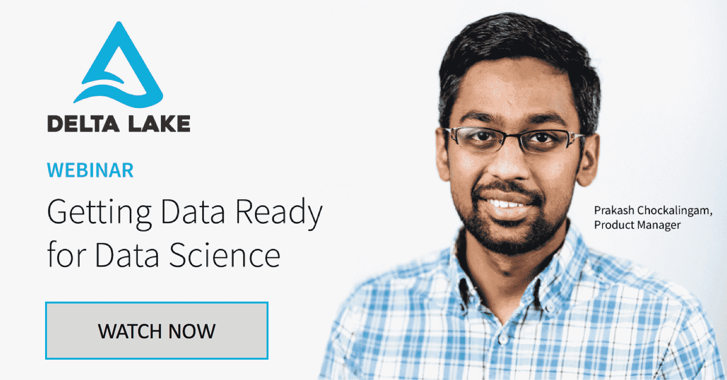 "Flyer for the ""Getting Data Ready for Data Science"" webinar with Prakash Chockalingam, Product Manager at Databricks."