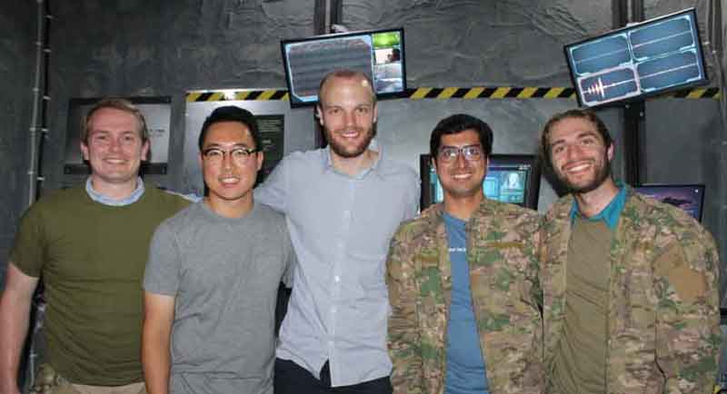 Miles Yucht(on the right) with the Databricks Amsterdam team at a post-apocalypse themed escape room
