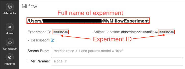 Databricks MLflow User Interface with Experiment ID and Artifact location