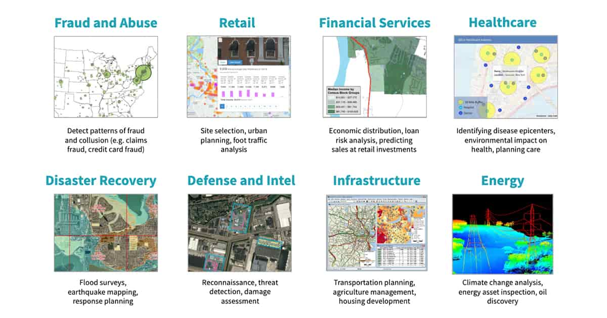 Maps leveraging geospatial data are used widely across industry, spanning multiple use cases, including disaster recovery, defense and intel, infrastructure and health services.