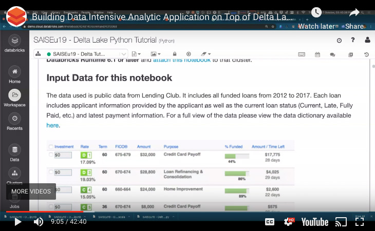 Building Data Intensive Analytics Application on Top of Delta Lake tutorial