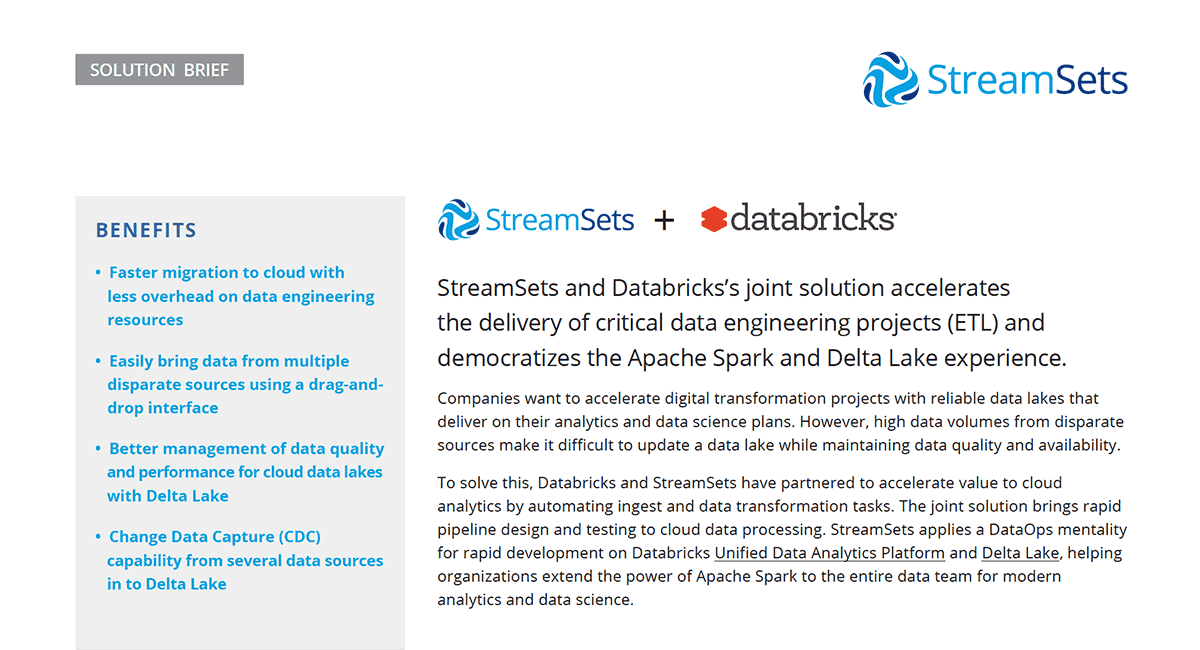 Thumbnail for StreamSets + Databricks Solution Brief