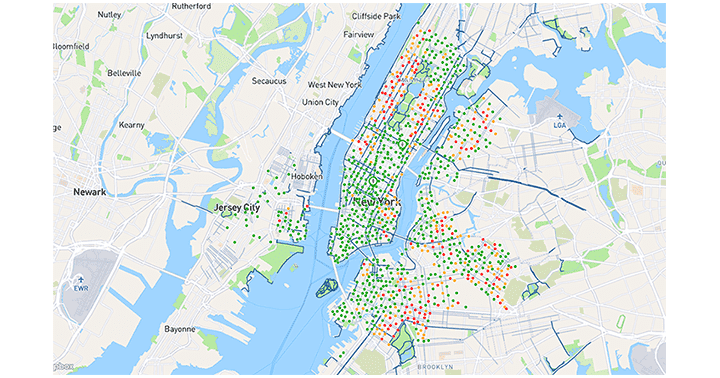 Sample sales data visualization for Citi Bike NYC, illustrating demand across available rental stations.
