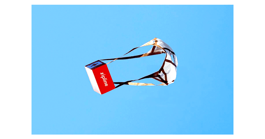 A package of medical supplies delivered via a Zipline drone