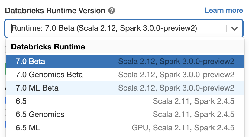 Spark 3.0.0 preview on Databricks Runtime 7.0 Beta