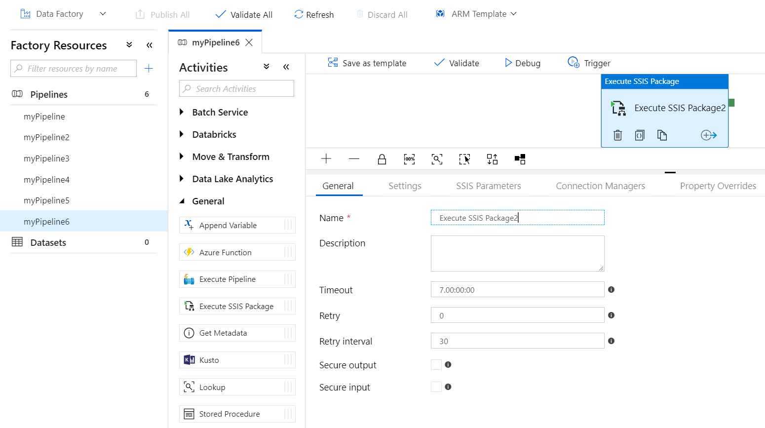Execute SSIS packages with Azure Data Factory
