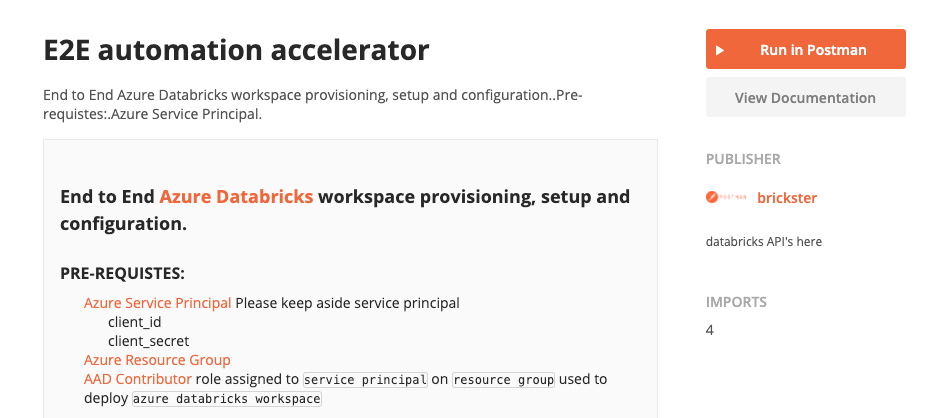 Using the automation accelerator to automate the end-to-end set up of Azure Databricks in Postman.
