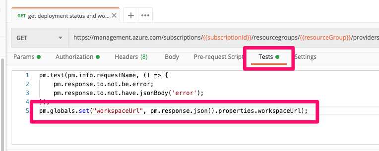 "Using ""Get workspace URL"" to return the Azure Databricks workspace URL to use in subsequent calls."