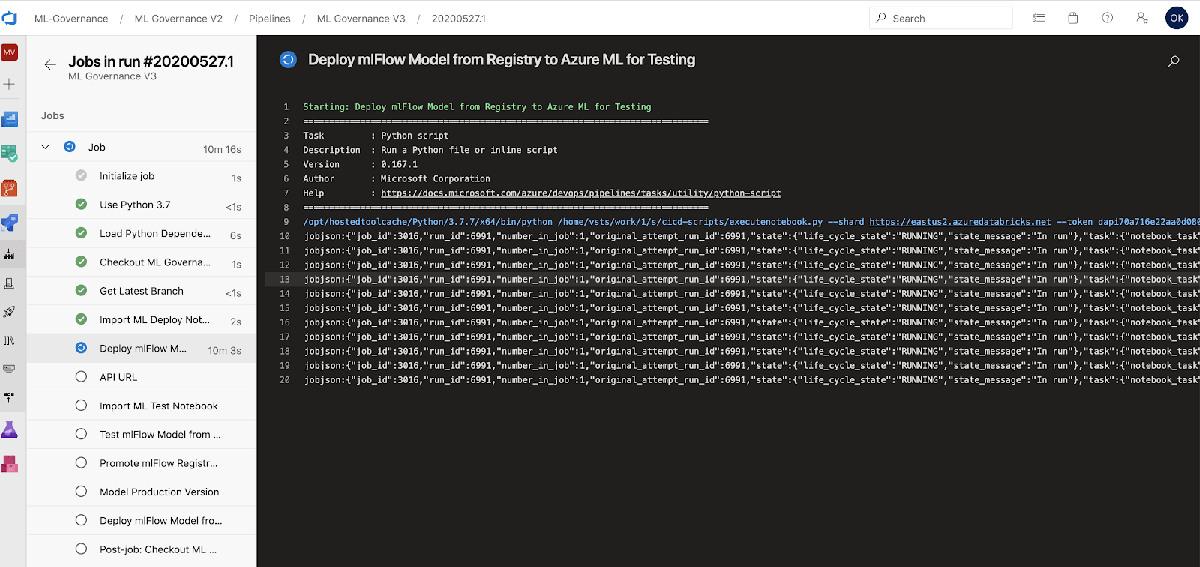 Sample deployment of ML model executed AzureML from an Azure Databricks notebook.