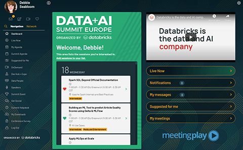 Sample personalized dashboard available to attendees of the Data + AI 2020 Europe Summit