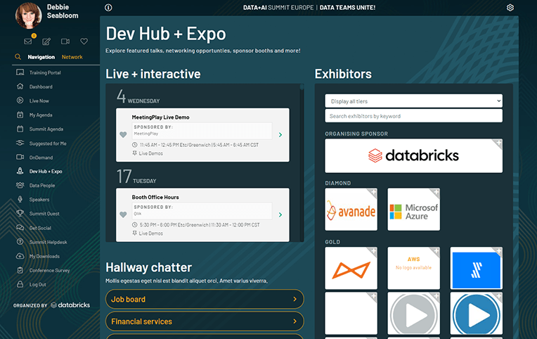 Sample Dev Hub and Expo available to attendees of the Data + AI 2020 Europe Summit