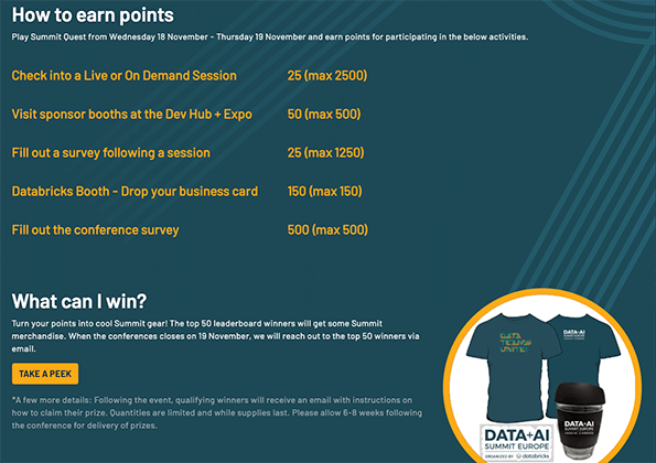 Sample personalized Summit Quest leaderboard available to attendees of the Data + AI 2020 Europe Summit