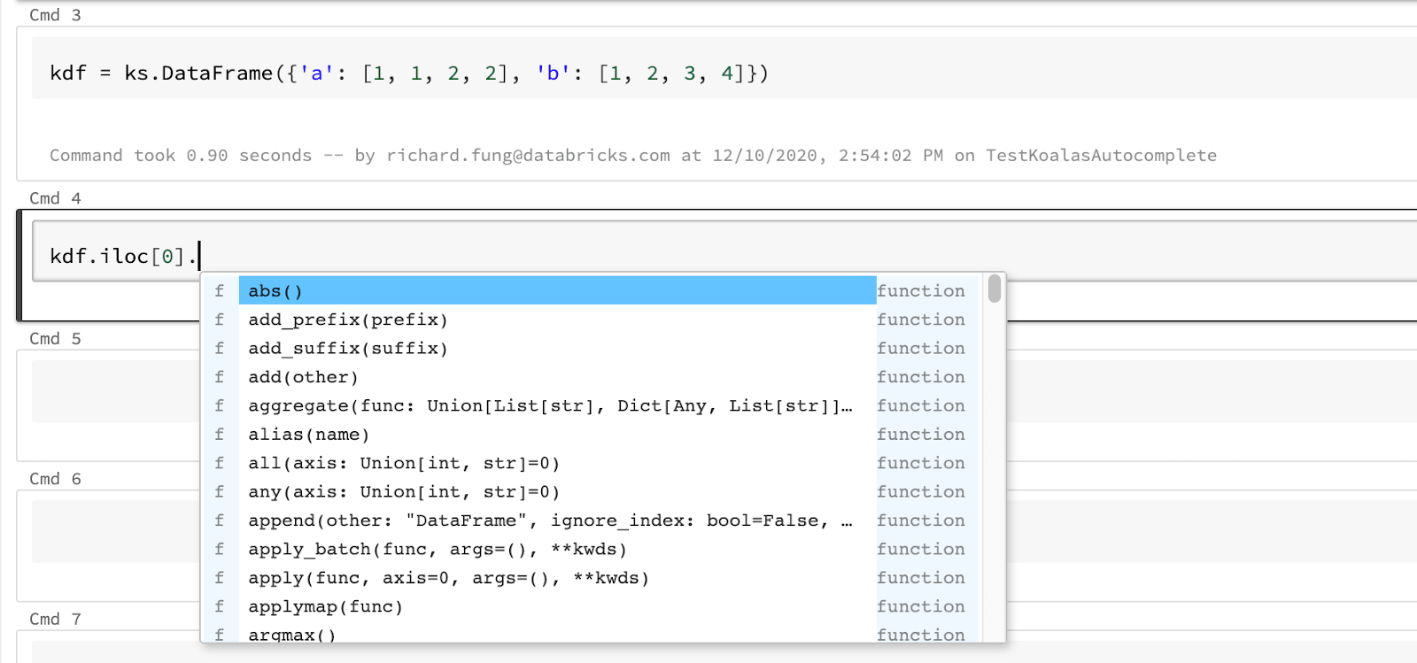 Koalas library is able to get autocomplete results after an index operator