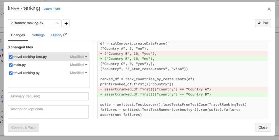 Developers can work on their own development branch and commit code and pull changes. Outstanding changes can be inspected in the UI before committing.