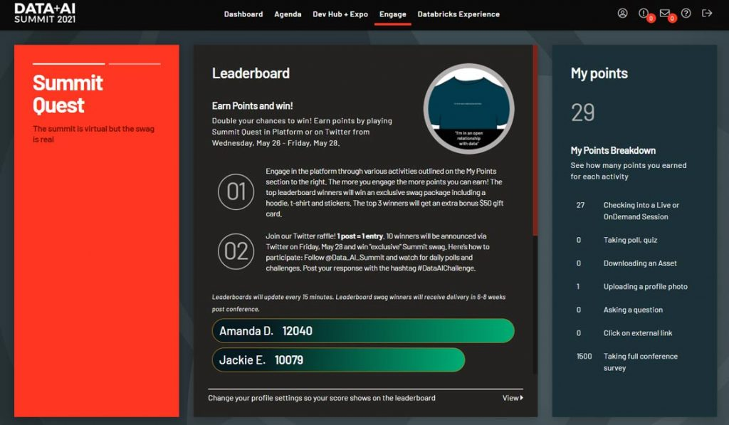 Sample personalized Summit Quest leaderboard available to attendees of Data + AI Summit