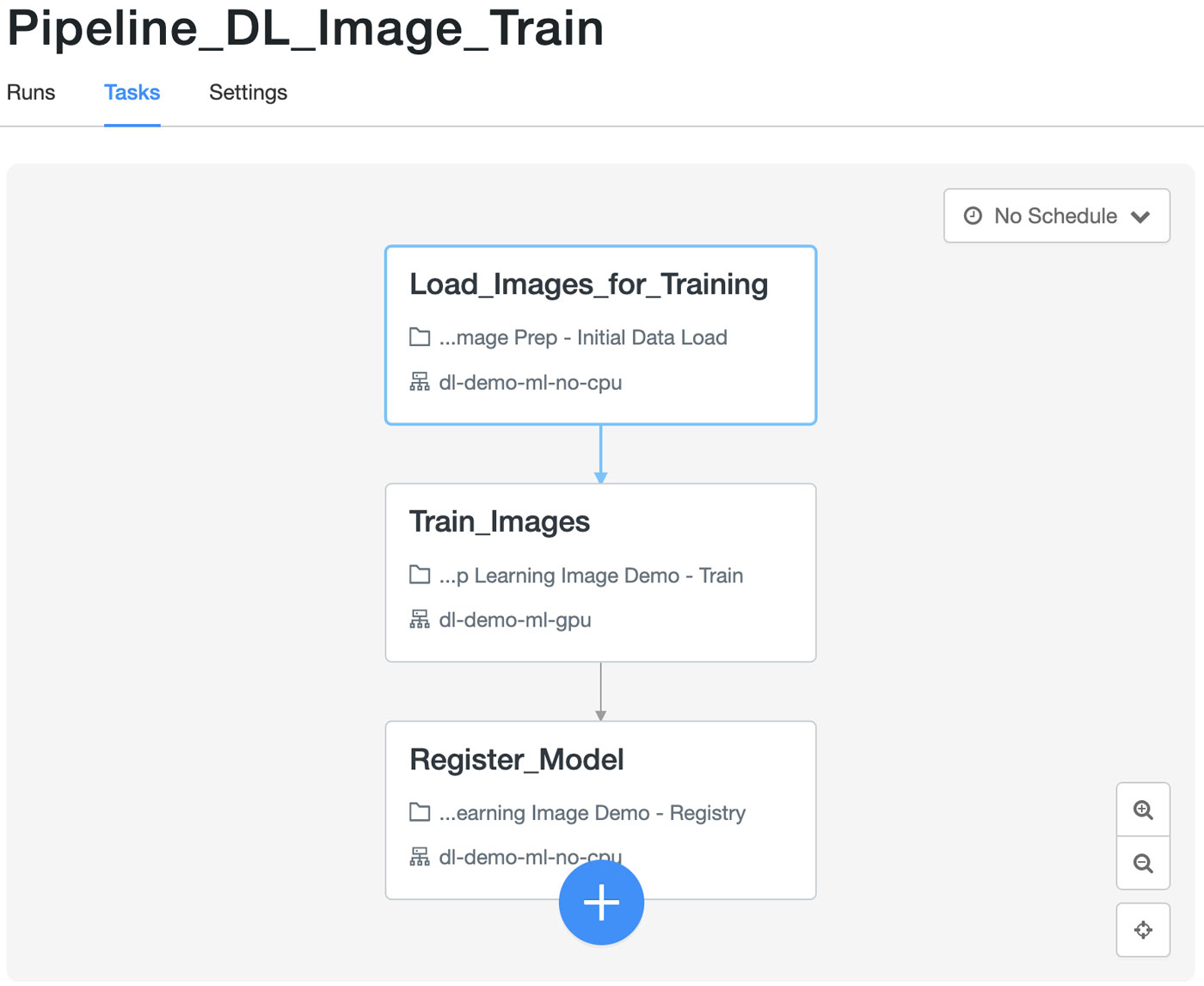 Training pipeline in Databricks Jobs Orchestration The workflows are defined in JSON format and can be stored and replicated as such. This is an example of what the training workflow JSON file looks like: