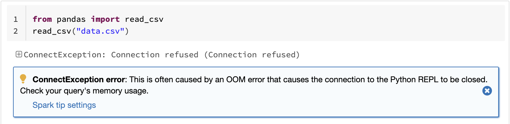 Example where pandas reading a large CSV file causes out-of-memory.