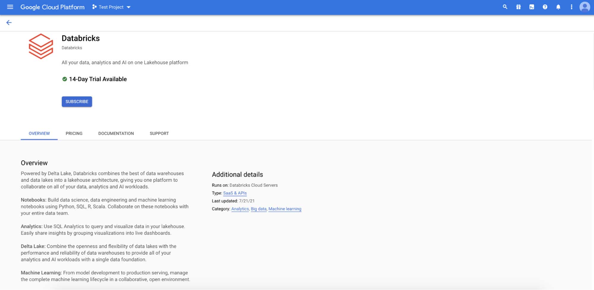 Databricks listing in the Google Cloud Marketplace. You are now ready to subscribe.