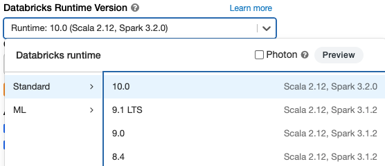 Databricks Runtime version selection when creating a cluster.